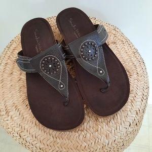 Aetrex Sandalistas Leather Sandals Cork Sole 8